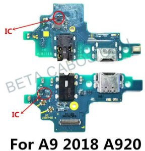 Placa Conector Carga Usb C com P2 e Microfone Samsung Galaxy A9 2018 Sm A920f