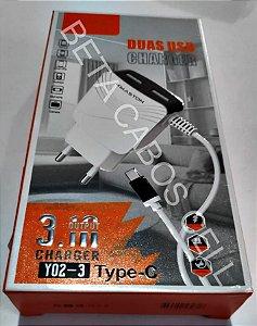 Carregador Hmaston Type c Tipo c 3.1a com 2 USB Y02-3