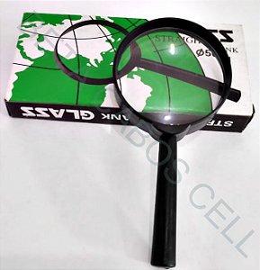 Lupa Glass de Mão Cabo Plástico Lente Aumento Zoom 50mm Leitura Estética Joalheiro