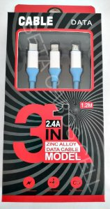 Cabo Carregamento Dados Rapido 2.4a 3 em 1 3x1 Iphone Tipo C V8 Ponta Metalizada D10 MK 030595 -B