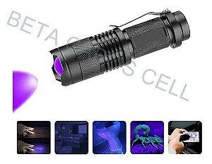 Lanterna Ultra Violeta UV Luz Negra Para Nota Falsa Escorpião Recarregavel com Carregador e Bateria LL 82662