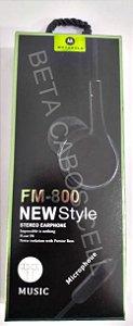 Fone estilo Motorola Stereo Earphone FM800 FM-800 FM 800