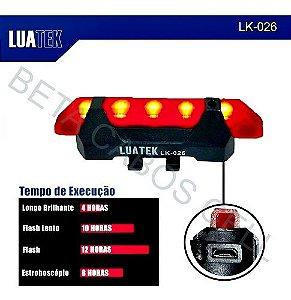 Farol Para Bike Bateria 15 Lm Luatek Lk-026 LK026 Traseira