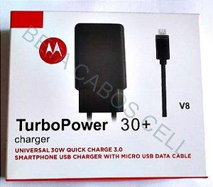 Carregador Motorola Turbo Power 30 V8 Caixa Vermelha