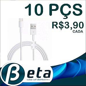 Kit 10 Cabos V8 Reforçado Grosso com Filtro Celular Tablet PS4 1,5m