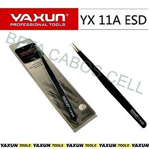 Pinça Reta Yaxun YX 11A Esd Aço Inox Antiestatica Preta 140x6mm YX-11A Esd