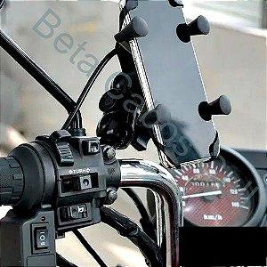Suporte Maxmidia Garra Para Celular Moto Universal Com Carregador Usb 2.1A Carregamento