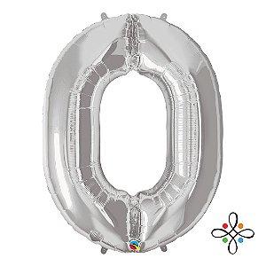 """Balão Metalizado Prata Numeral 0 (Zero) - 34""""/86cm"""