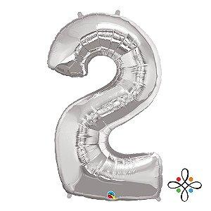 """Balão Metalizado Prata Numeral 2 (dois) - 34""""/86cm"""