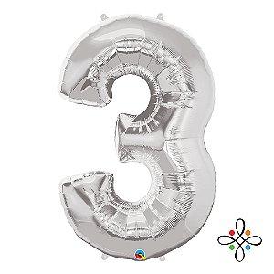 """Balão Metalizado Prata Numeral 3 (Três) - 34""""/86cm"""