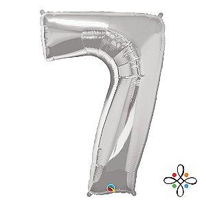 """Balão Metalizado Prata Numeral 7 (Sete) - 34""""/86cm"""