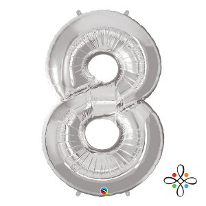"""Balão Metalizado Prata Numeral 8 (Oito) - 34""""/86cm"""