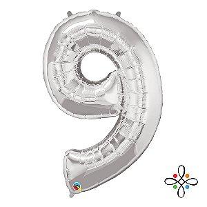 """Balão Metalizado Prata Numeral 9 (Nove) - 34""""/86cm"""