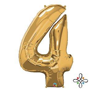 """Balão Metalizado Dourado Numeral 4 (Quatro) - 34""""/86cm"""