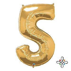 """Balão Metalizado Dourado Numeral 5 (Cinco) - 34""""/86cm"""