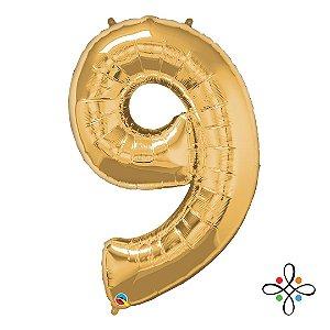 """Balão Metalizado Dourado Numeral 9 (Nove) - 34""""/86cm"""