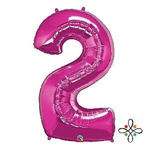 """Balão Metalizado Rosa Numeral 2 (Dois) - 34""""/86cm"""