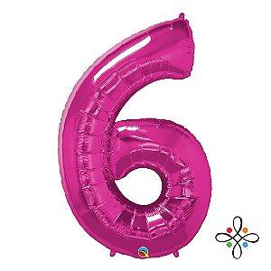 """Balão Metalizado Rosa Numeral 6 (Seis) - 34""""/86cm"""
