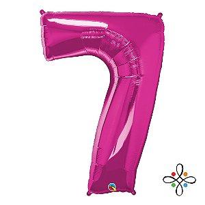 """Balão Metalizado Rosa Numeral 7 (Sete) - 34""""/86cm"""