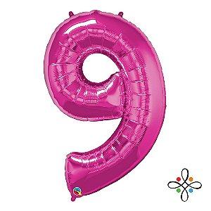 """Balão Metalizado Rosa Numeral 9 (Nove) - 34""""/86cm"""