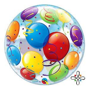 "Balão Bubble Estampado colorido - 22""/56cm"