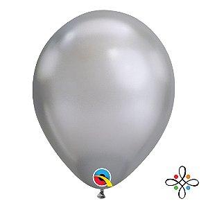 """Balão Chrome Látex Cinza - 11"""" Polegadas"""