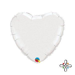 """Balão Coração Branco - 09"""" Polegadas"""