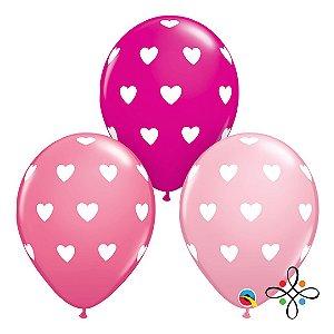"""Balão de Coração Várias Cores - 11"""" Polegadas (unidade)"""