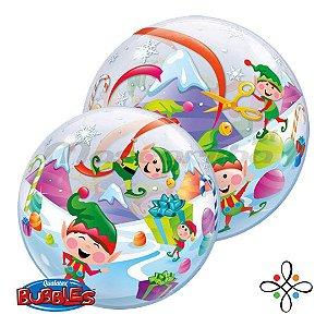 "Balão Bubble Duendes Natalino  - 22""/56cm"