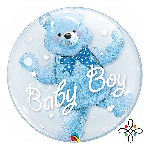"Balão Bubble de Urso Azul - Bebê Menino - 24"""