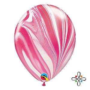 """Balão SuperAgate Vermelho e Branco - 11"""" Polegadas"""