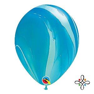 """Balão SuperAgate Arco-Íris Azul - 11"""" Polegadas"""