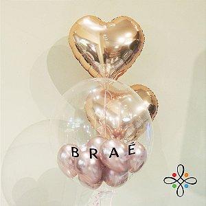 Buquê Personalizado (01 Bubble + 02 Metalizados de Coração Dourados)