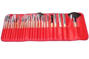 Kit 24 Pincéis Maquiagem Profissional + Estojo Pincel