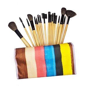 Kit 18 Pincéis Maquiagem Profissional + Estojo Pincel