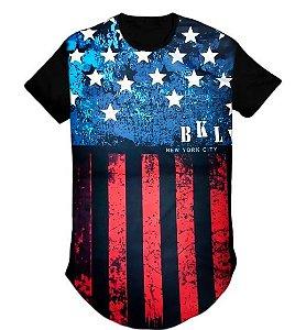 Camiseta  Long line bandeira estados unidos masculina Azul  - M