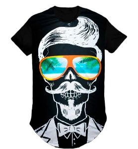 Camiseta Longline masculina barbeiro bigode com c/ óculos -G