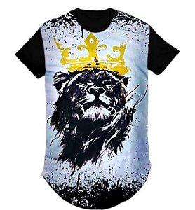 Camiseta Longline swag Gospel Leão de Judá estampada- M