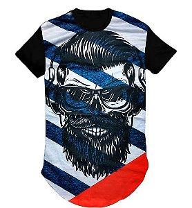 Camiseta Swag Long Line Oversized Blusa Caveira Óculos- M