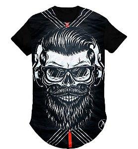 Camiseta Swag Long Line Oversized Caveira Fone Óculos - M