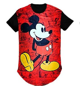 Camiseta Masculina Personagem Mickey  swag  Longline- M