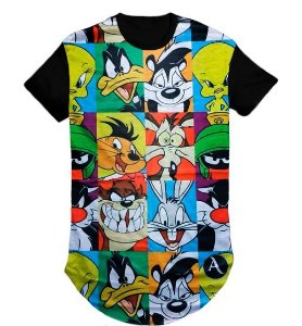 Camiseta Anime Nune Tunes Swag Long Line Oversized Blusa- M