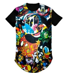 Camiseta Anime Mickey  Swag Long Line Oversized Blusa- M