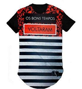 Camiseta Camisa Gospel Bons tempo LongLine Oversized Swag- M