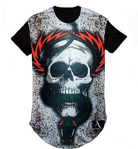 Camiseta Swag Long Line Oversized Blusa Caveira - M