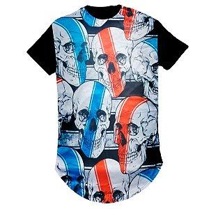 Camiseta Longline Masculina - Caveiras