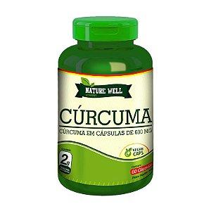 CÚRCUMA - Açafrão 600mg  Concentrado - Nature Well 60 Cápsulas veganas