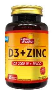 Vitamina D3 2000UI + ZINC 29,59MG Natural Weather 60 CÁPSULAS