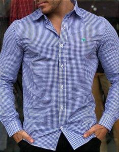 Camisa Cerrado Brasil Quadriculada Azul Royal