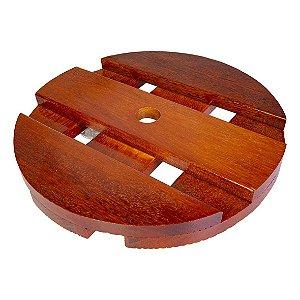 Suporte de Madeira Para Vasos Redondo 25cm roda Preta
